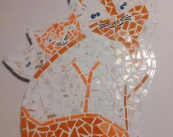 Cat kitten-mosaic glass enamels of briare-red white