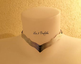 The collar Silver Gold Leather * lace 3 *.