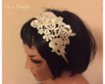 Crown wedding headband, ivory lace headband
