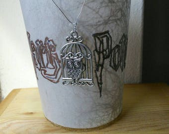 HARRY POTTER Handmade Tealight Candle Holder - Embossed with Hedwig Owl Metal Charm. Lumos Maxima!