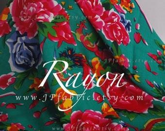 Buy Asian Fabric Peony green rayon by the yard