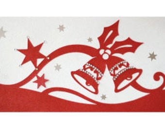 1 Christmas Bells Blank Card , Holly , Stars , Rhinestones , Red , White , Papercut , Holiday