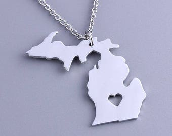 I heart Michigan Necklace - Michigan Pendant  - Map necklace - State Charm - Map Jewelry
