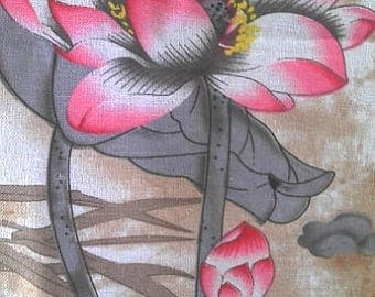 Chinese fabric linen cotton grey/pink Lotus 10 m