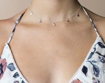 Sterling Silver Star Dangle Choker • Silver Mini Star Necklace • Sterling Silver Star Charm Choker • Layering Choker • Silver Star Necklace