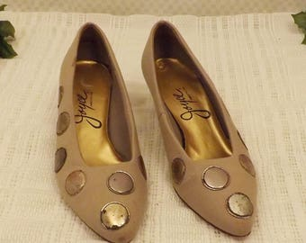 Vintage 70s Joyce Canvas Kitten Heel Pumps w Coin Dots Size 7 1/2
