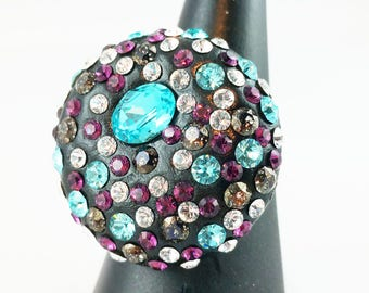 Ring 925 sterling silver and Swarovski Crystal Turquoise and purple