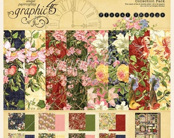 NEW!!! Graphic 45 Floral Shoppe 12x12 Collection Pack SC007776