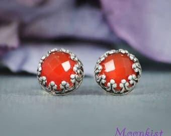 Carnelian Stud Earrings, Autumn Orange Stud Earrings, Filigree Silver Stud Earrings, Gemstone Earrings, Stud Earrings for Women, Rose Cut