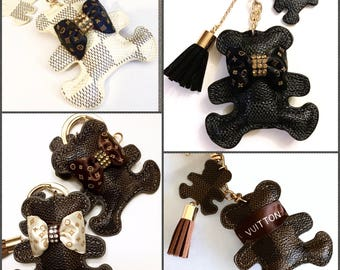 Upcycled Authentic LOUIS VUITTON Ribbon, Monogram Bow & Crystals Stuffed Damier Canvas Bear Tassel Keychain Bag Charm Inspired Bear,4 Colors