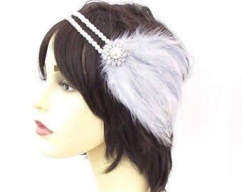 Light Grey White Silver Pearl Feather Headpiece 1920s Headband Flapper Vtg 3328