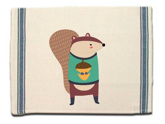 Squirrel in Socks Kitchen Towel|Dish Towel| Tea Towel| Flour Sack Material| Woodland Animals Dish Towel| Flour Sack Kitchen Towel|Dish Cloth