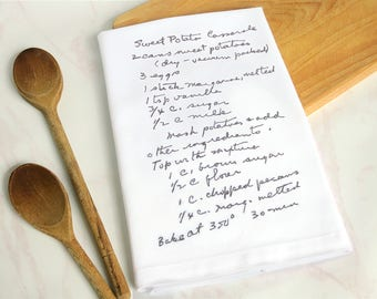 Custom handwriting towel - Embroidered tea towel - handwritten recipe tea towels - Custom recipe card  - Custom embroidered kitchen towel