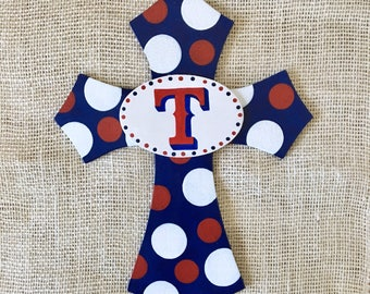 Texas Rangers - Texas Rangers hand painted wooden cross - Rangers fan