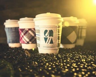 Drink cozies lumberjack plaid recycled shirt cuff grunge flannel Northwest one dozen assorted wholesale mixed lot