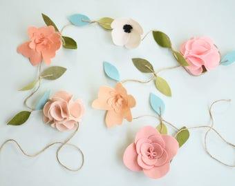 Felt Flower Garland - Nursery Floral Decor - Pink Flowers and anemone garland