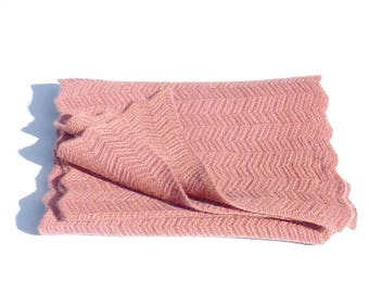 SCARF cashmere peachy pink, handmade knit accessory luxury HERITAGECONCEPTPARIs women Valentine's day gift, mother's day gift