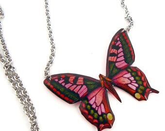 Pink Butterfly Necklace, stainless steel chain