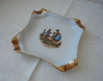 stunning vintage Limoges porcelain shaped table ashtray