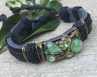 Black leather jeweled bracelet