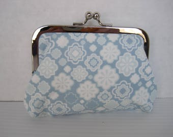 Coin Purse, Small Clutch, Child's Purse, Light Blue and Gray, Fabric, Handmade, Metal Frame, Ladies Gift, Women's Accessories