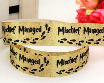 Mischief Managed Harry Potter Inspired  7/8 Grosgrain Printed Ribbon, bow supplies, pet collar supplies