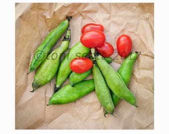 instant download royalty free stock photograph green fava beans, red baby tomatoes, food,vegetables