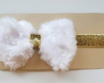 White or Ivory Faux Fur Bow and Gold Sparkle Headband