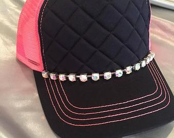 Bling Trucker Hat. Pink Hat. Women's Rhinestone Hat. Women's Trucker Hat.