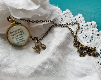 Mary Poppins Quote Necklace, Don't you know that everybody's got a Fairyland of their own, P.L. Travers, Book Nook, MarjorieMae
