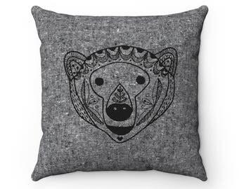 "Scandinavian Bear print pillow, cushion cover 14""or 18"", Black + white, decorative textile, Woodland bear, Throw pillow, Scandinavian print"
