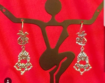 Bird and flower silver earrings from mexico
