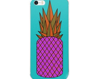 Retro Pineapple iPhone Case, original design, geometric, orange, pink, blue, gift idea, present, phone case