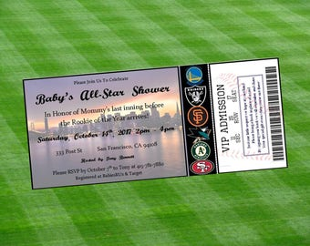 San Francisco Bay Area Teams Inspired MLB, NHL, NBA and NFl Ticket Baby Shower Invitation