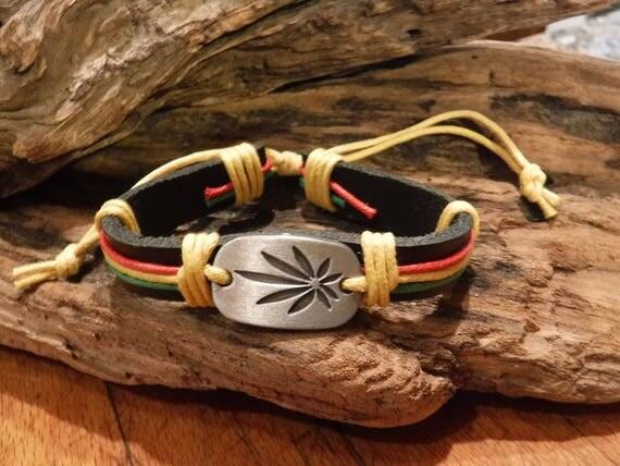 Cannabis Leaf Bracelet Weed Bracelet Tribal Leather Bracelet Adjustable African Jamaican  Leather Weed Bracelet Hippy Leaf Bracelet surfers