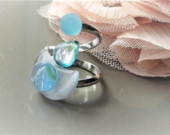 Blue murano glass and bargent ring