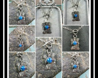 Rustic Steel Memorial Ash Toggle Pendant Necklace/ Memorial Ash Jewelry Pet Memorial Jewelry/ Cremation Necklace/64 Color options