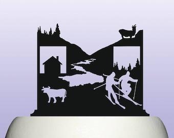 Acrylic Alpine Alps Mountain Valley Scenery Cake Topper Keepsake Gift