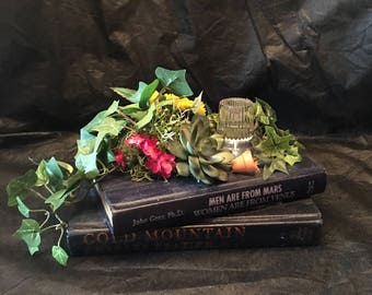 Vintage Books Candleholder and Flowers Centerpiece ~ Flower Arrangement ~ Repurposed Vintage Books ~ Candleholder ~ Shabby Chic