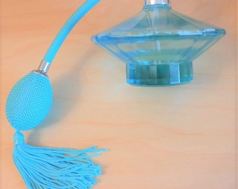 A Vintage As New Art Deco Pale Blue Perfume / Scent Atomizer - Ideal Gift / Present