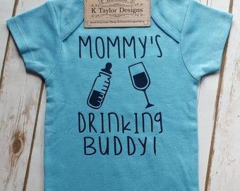 Boy Onesie, Mommy's Drinking Buddy, Drinking Buddy, Wine, Bottle, Baby Onesie, Baby Girl Onesie, Baby Boy Onesie, Baby Shower Gift