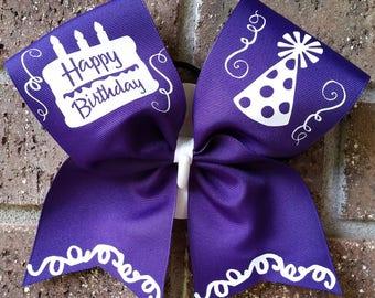 Birthday bow, Cheer Bow, Birthday, Bow, CHOICE OF COLORS