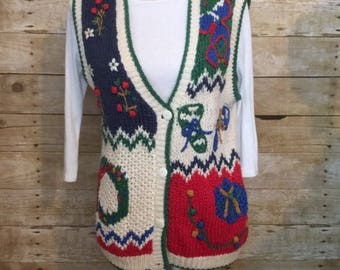 Ugly Christmas sweater vest - hand knit