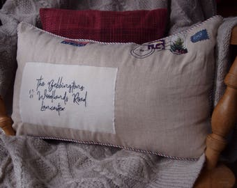 Air mail cushion, Hand embroidered address cushion, Home decor, Housewarming gift, New home present, Vintage look postage cushion
