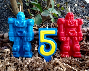 Robot birthday candles set of 3 for 6.00