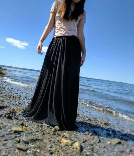Full length soft tulle skirt