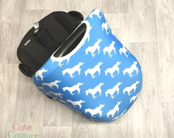 Blue Universal Car Seat Cover - Carseat Hood - Replacement Cover - Sun Canopy - Sunshade & Horse car seat cover | Etsy