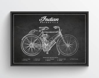 Indian Motorcycle Patent Wall Art Poster, Indian Poster, Indian Print, Home Decor, Gift Idea, TRBM09P