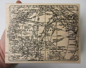LARGE Tim Holtz Map Rubber Stamp-Map Stamp