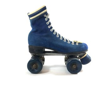 Oberhamer 510 Blue Suede Roller Skates High Top Quad Boot Skate Original 1970s Chicago USA